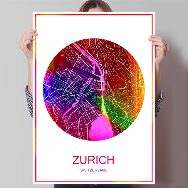 Zurich switzerland world city map print poster print on paper or canvas wall sticker bar cafe