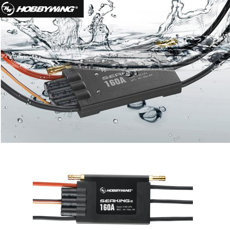 1pc Hobbywing SeaKing Pro V3 160A Waterproof 2-6S Lipo 4A BEC Speed Controller Brushless ESC for RC Racing Boat hobbywing seaking 60a v3 electronic speed controller esc for rc boats free shipping with tracking