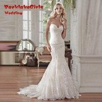 Elegant 2018 New Design Long Lace Mermaid Sweetheart Vintage Bridal Dresses White Or Ivory Gowns Wedding Dress Vestido De Noiva