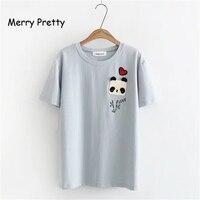 שמח נשים יפות אפליקציות פנדה סיני 2018 אופנה רקמת מכתב פסים בחולצות טי חמוד שרוול קצר חולצות קיץ ילדה