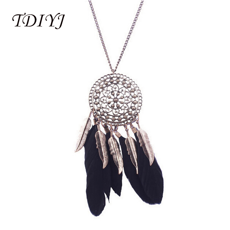 TDIYJ New Arrival Dream Catcher Feather Pendant Necklace Statement Colar Alloy Wing Ethic Bohemia Jewelery Necklace 3Pcs/lot