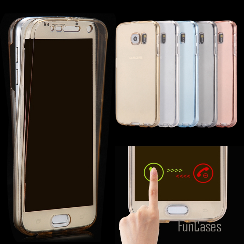 For Samsung Galaxy S7 S7 Edge S6 A3 2016 A5 S4 S5,Front Transparent TPU Soft Touch Case full body protective Clear Cover Luxury