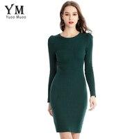 YuooMuoo Spring Autumn Office Lady Style Slim Sheath Elastic Sweater Dress Long Sleeve Hole Green Solid