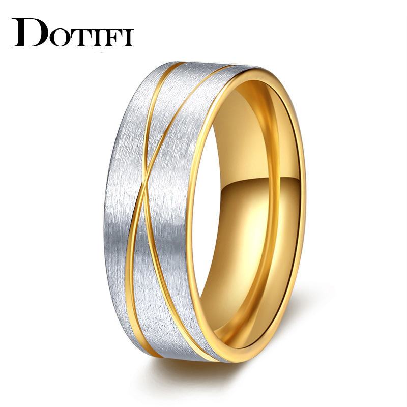 DOTIFI Titanium 316L Stainless Steel Rings For Women Intersect Engagement Wedding Ring Jewelry