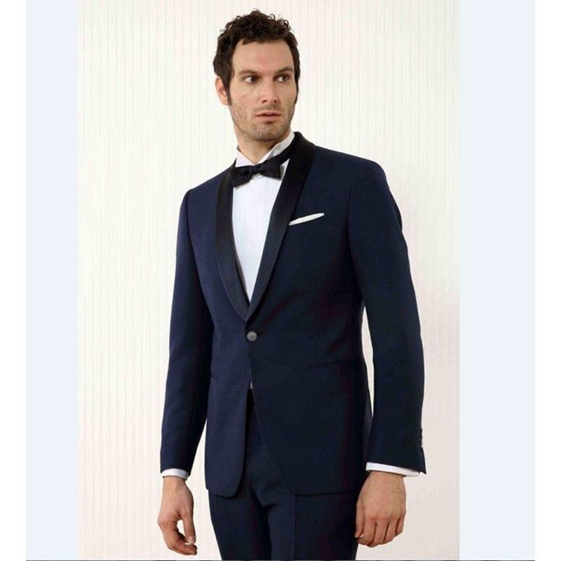 Custom Made Black Lapel Groom Tuxedos Navy Blue Mens Suits Wedding ...
