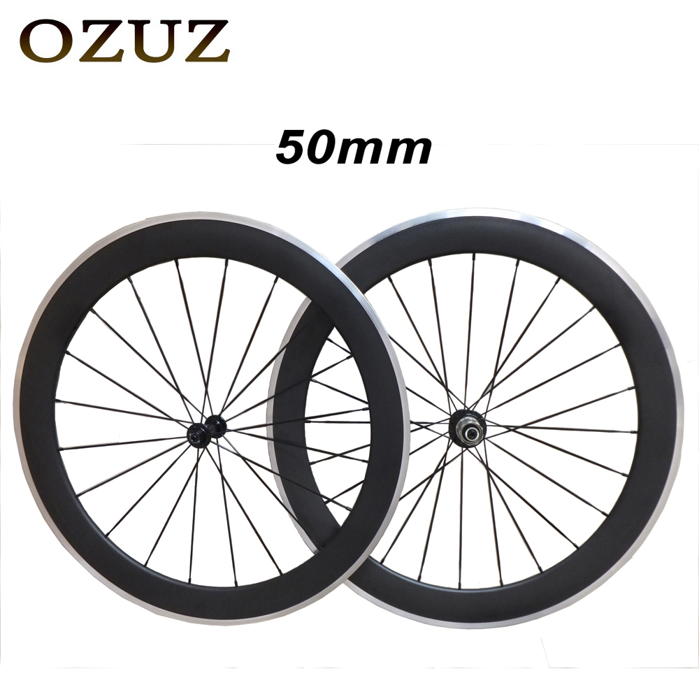 Top Quality OZUZ 700C Aluminum Bicycle Wheelset Carbon Wheels 50mm Clincher Standard Wheels 3K Matte 3K Glossy Carbon Wheelset straight pull free customs fee 700c ozuz 38mm 50mm clincher tubular 3k carbon wheels 3k matte carbon road bike bicycle wheelset