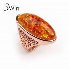 3Win Big Bohemian Precious cocktail Rings for Women Wholesale Fashion Jewelry Party Wedding Christmas Gifts Gold Ambar Ring Anel