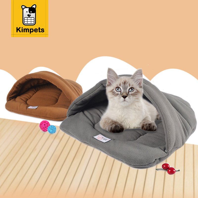 New Pet Cat Bed Small Dog Puppy Kennel Sofa Polar Fleece Material Bed Pet Mat Cat House Cat Sleeping Bag Warm Nest High Quality