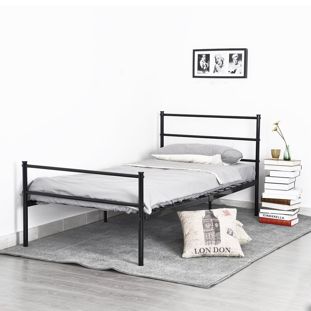 Aingoo Stainless steel Single Metal bed Frame Modern style Bedroom Furniture Standard 3FT Twin Size bed iBlack, silver, white enhanced version of european style metal bed iron bed double bed pastoral style student bed 1 5 meters 1 8 meters