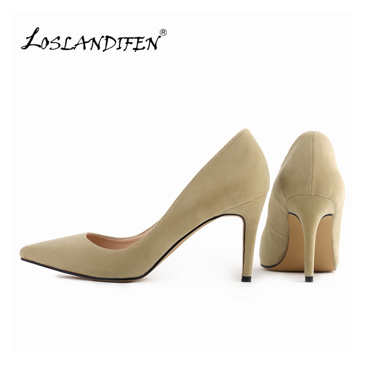 LOSLANDIFENClassic Sexy Pointed Toe pertengahan Tinggi Heels Wanita Pumps Shoes Faux suede Wedding Pumps Saiz Besar 35-42 10 Warna 952-1VE