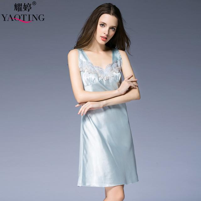 3 Cores Nova Verão Mulheres Nightgowns Noite Vestido de Cetim de Seda Sexy Roupão de banho Conjunto roupa de Dormir de Renda Camisola Vestido Night SQ118