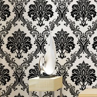 Haokhome Floral Damask Wallpaper Non Woven Wall 3d Rolls White Black Textured For Living Room Bedroom