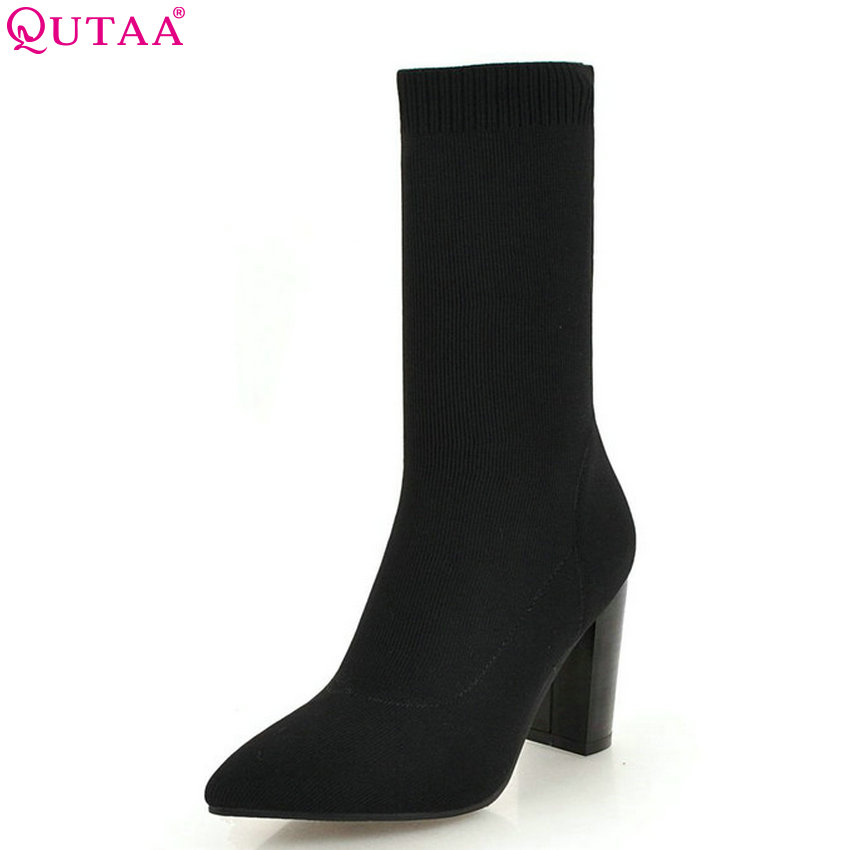 QUTAA 2019 Sock Boots Fashion Women Shoes Knitting Square High Heel Women Ankle Boots Pointed Toe Women Boots Big Size 34-43 qutaa 2019 women ankle boots fashion lace up pu leather platform square high heel pointed toe shoes women boots big size 34 43