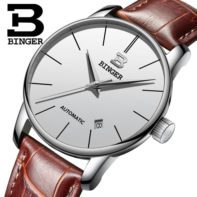 ФОТО Switzerland BINGER watches men luxury brand Relogio Masculino water resistant Stainless steel Mechanical Wristwatches B-5005M-2