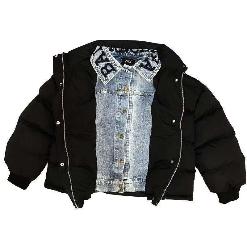 Épais Nouvelle Parka Coton 2018 Rue Lettres Veste Couture Broderie Vêtements Tendance Hiver Denim 8qqX5f
