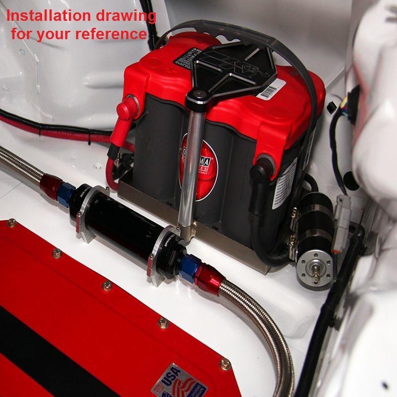 Aluminium højt flow brændstoffilter AN10 sort med 100 mikronelement - Bilreservedele - Foto 5