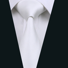 DH-341 Мужской Шелковый галстук белый однотонный галстук на шею шелковые жаккардовые галстуки для мужчин деловые Свадебные вечеринки
