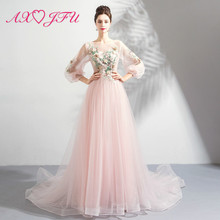 AXJFU Pink flower Goddess delicate model pink lace bride evening dress dinner party beading 7182