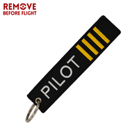 Wholesale Remove Before Flight Pilot Luggage Tag Label OEM KeyChain Jewelry Safety Tag Embroidery Key Ring