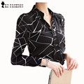 Fashion Diamonds Design Formal Wear  Autumn New Office Lady Chiffon Blouse Print Gemoetric Charm Women Shirt Blusa T65622R