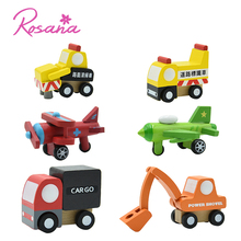 Rosana 12Pcs Children Cartoon Car Toys Wood Crane Truck Bus Airplane Helicopter Modle Traffic Model Toy Gift For 2-6 years old