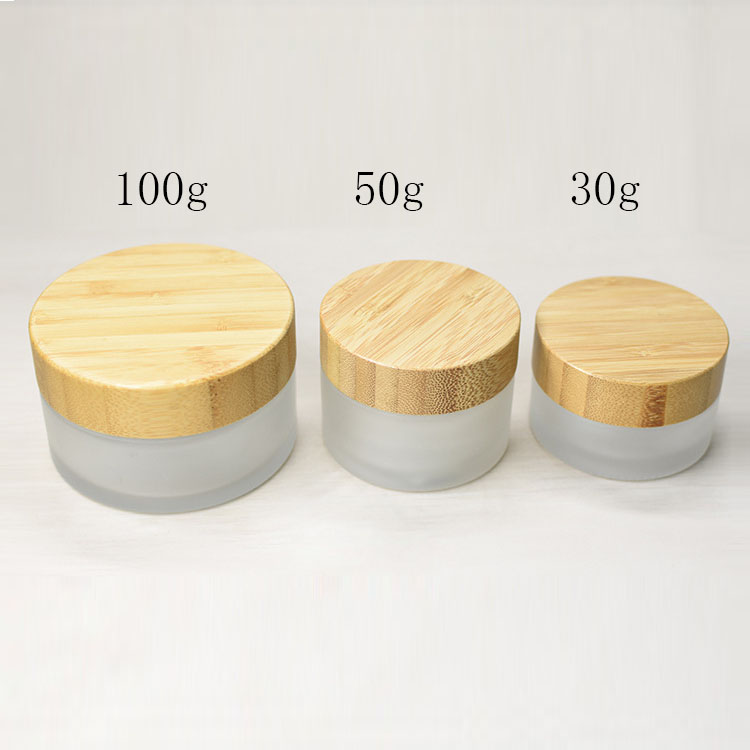30g 50g 100g Frosted Glass Cream Empty Jar Ecological Friend Bamboo Lid Skin Care Cream Container Cosmetic Packaging