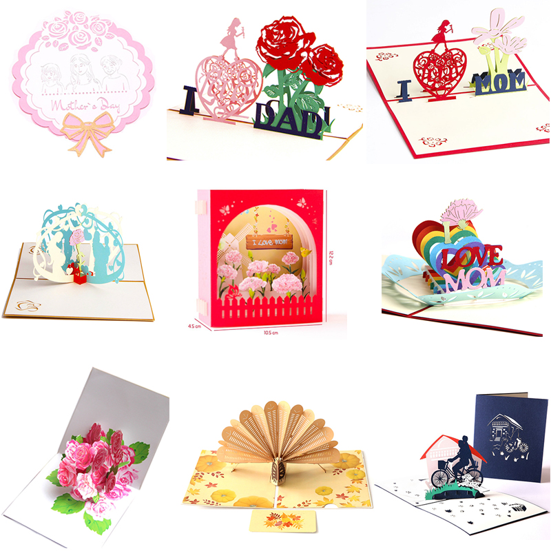 1pcs lot Teacher 39 s Day Greeting Card Birthday Blessing 3D Creative Mother 39 s Day Father 39 s Day Thanksgiving Card Invitation Card in Cards amp Invitations from Home amp Garden
