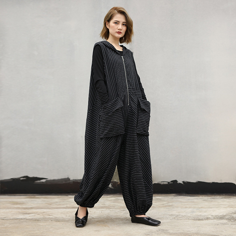 2018 female new autumn plus size pants stripe with hood lantern casual fashion loose jumpsuits and