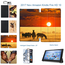 MTT Print Horse for Amazon Kindle Fire HD 10 2017 Tablet Case Fire 10 Case 2017 Slim Smart TriFold Flip Leather Stand Cover Capa