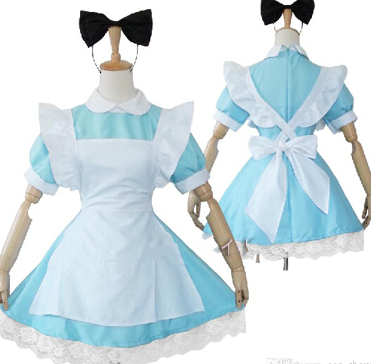 New Japanese font b Anime b font Lolita Maid Outfit Girls Alice Uniform Dress Halloween font