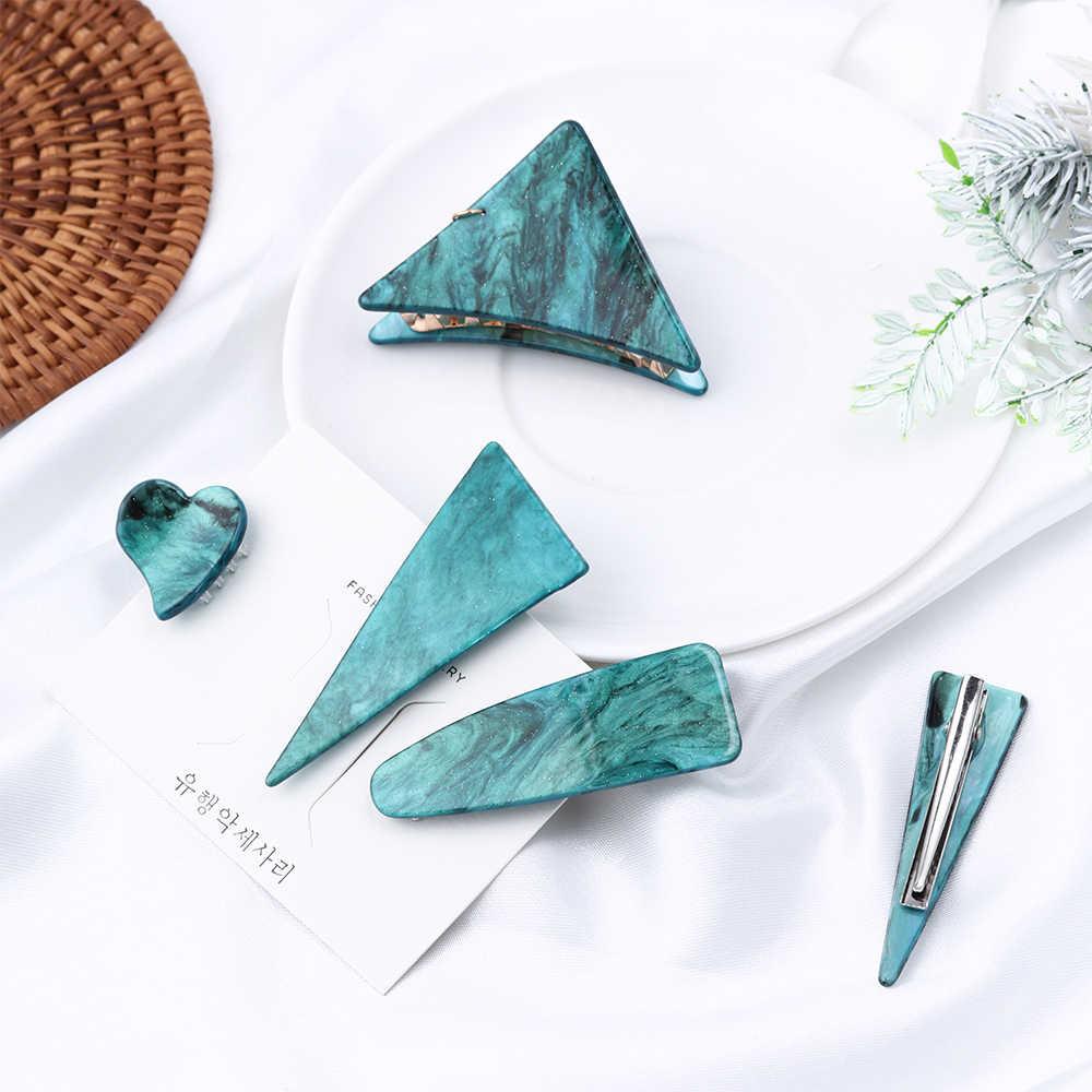 Nuevos horquillas triangulares geométricos de la serie Esmeralda de la vendimia y Clip de agarre de mujer temperamento personalidad Clip de pelo accesorios para el cabello