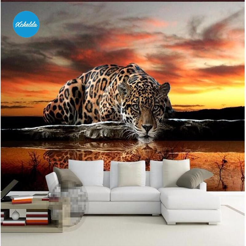 XCHELDA 3D Mural Wallpapers Custom Painting Animal Leopard Design Background Bedroom Living Room Wall Murals Papel De Parede custom 3d wall murals wallpaper luxury silk diamond home decoration wall art mural painting living room bedroom papel de parede
