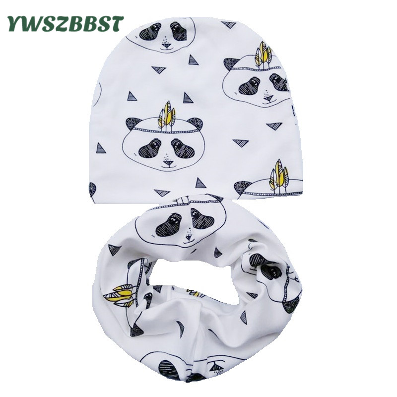 New Fashion Autumn Winter Baby Hat Children Hat Scarf Collars Animal Print Boys Girls Beanies Kids Cap Infant Hats Set Baby Caps