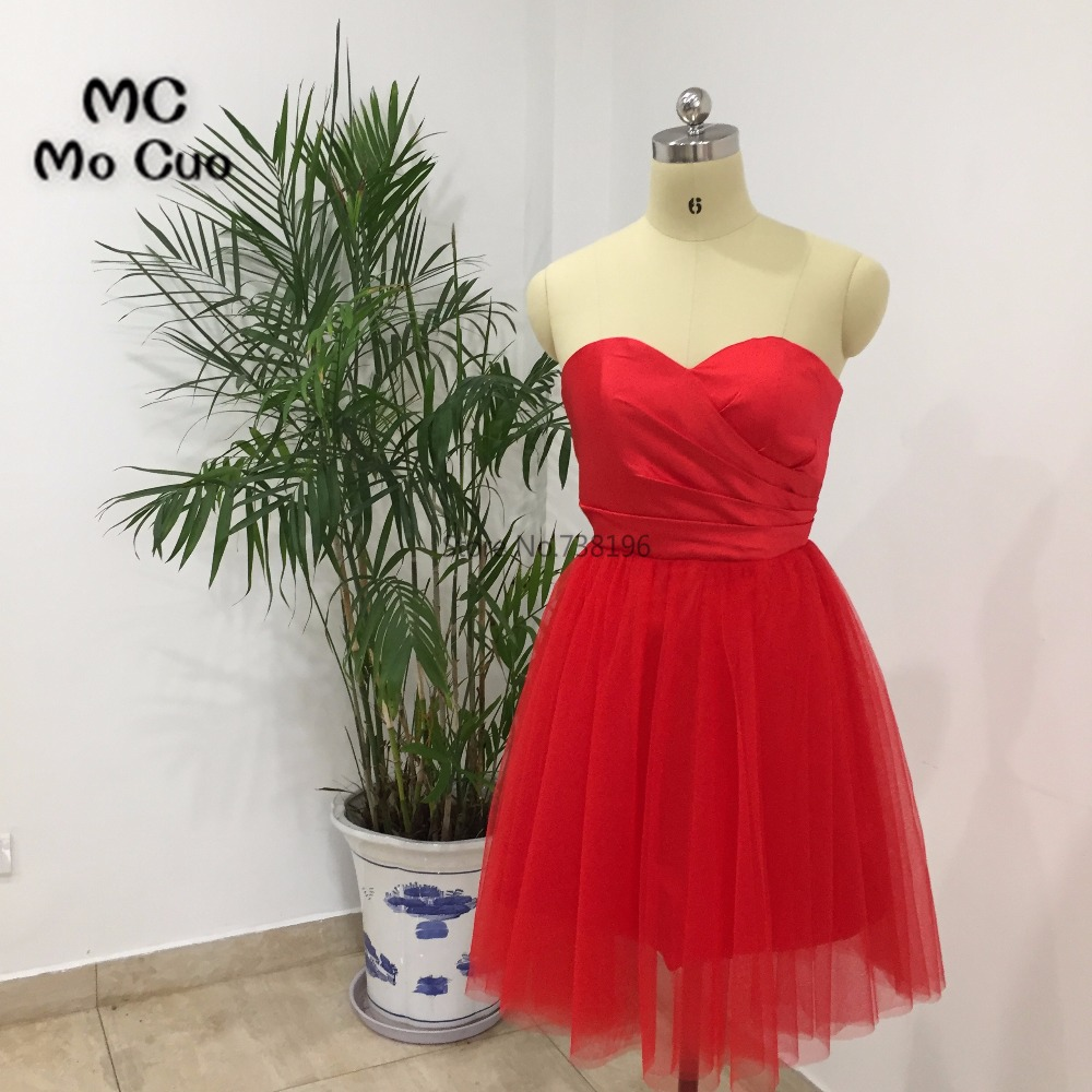 New Arrival 2018 Ball Homecoming dress Short Pleat Red Cocktail party dress Sweetheart Tulle Red Homecoming dresses Short