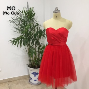 New Arrival 2018 Ball Homecoming dress Short Pleat Red Cocktail party dress Sweetheart Tulle Red Homecoming dresses Short фото