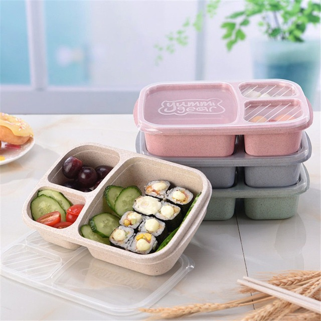 Three Grids Lunchbox Wheat Straw Microwavable Meal Storage Food Prep Box Lunch Container Portable Bento For Dinner