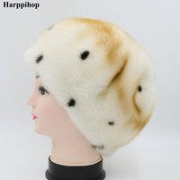 2017 Fur hat female mink hat Women fur beret hat genuine leather winter ear cap 20% off