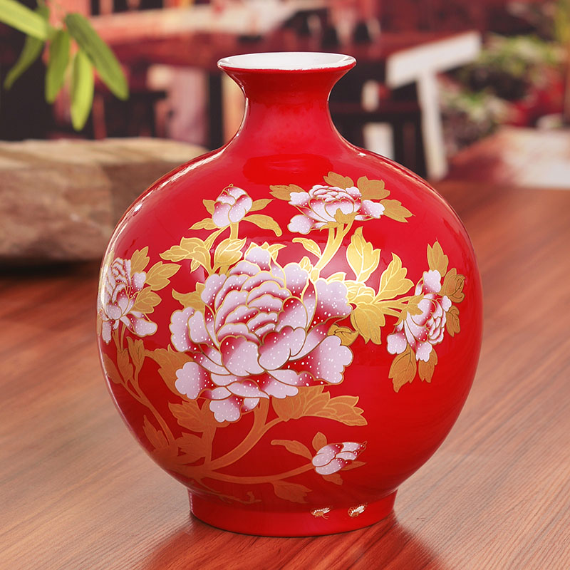 Chinese Red Porcelain Ceramic Vases For Wedding Or Table Lamps In