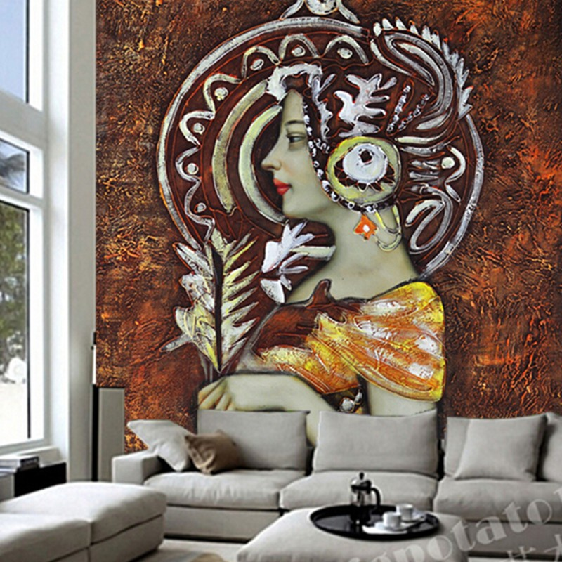 Custom large mural National Girls side oil painting papel de parede ,living room sofa TV wall bedroom walllpaper 3d panel wall custom 3d large mural abstract digital painting colorful graffiti collage papel de parede living room tv wall bedroom wallpaper