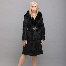 RUIDEFUR  Rabbit Fur Hooded Coat Real Natural Fur Coats For Women For Women's Jacket Big Size Black 7xl 2017 Winter Long Coat
