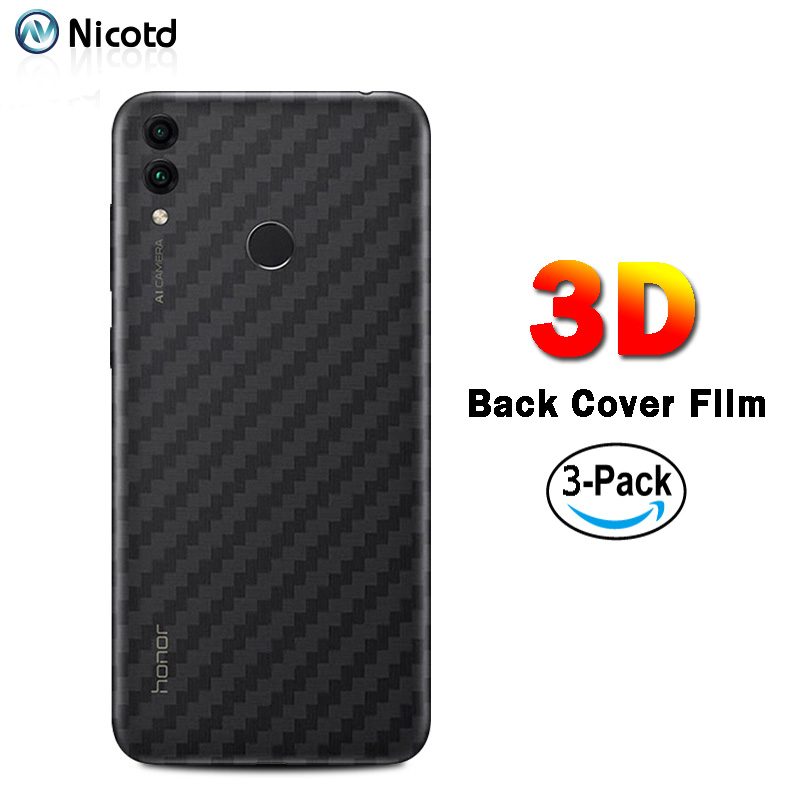 3Pcs/lot Back Cover Film For Huawei Honor 10 9 8C Carbon Fiber Stickers For Huawei Honor 7X 6X 8Pro Soft Screen Protector Film image