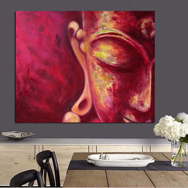 Big size red buddha face fengshui canvas painting print on canvas for buddhism poster wall art