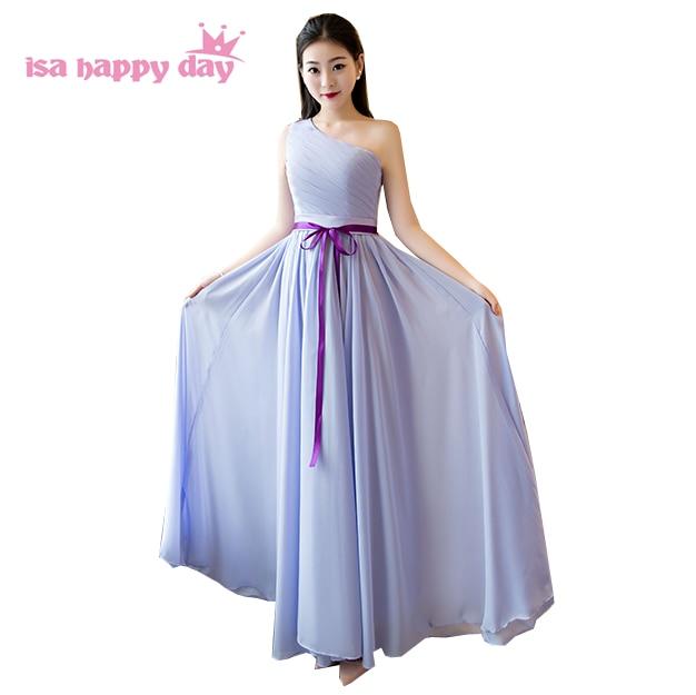 Photos moderne magnifiquement modeste formel élégant une épaule longue une ligne chérie en mousseline de soie robe de bal 2019 sexy robes H4136