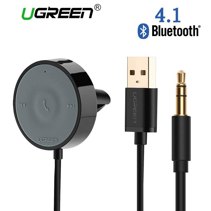 UGREEN Bluetooth Receiver 4.1 Wireless 3.5mm Adapter HandsFree Bluetooth Car Kit Bluetooth Audio Receiver for Speaker Car Stereo hk009 wireless bluetooth 4 0 handsfree car speaker black