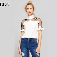 DIDK Contrast Embroidered Mesh Shoulder Frilled Blouse Summer Band Collar Color Block Cute Blouse Ladies Sheer