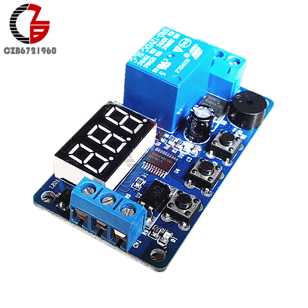 Digital LED Display Time Delay Relay Module Board DC 12V Control Timer Switch Trigger Cycle Module Car Buzzer PLC Automation dc 12v relay multifunction self lock relay plc cycle timer module delay time switch