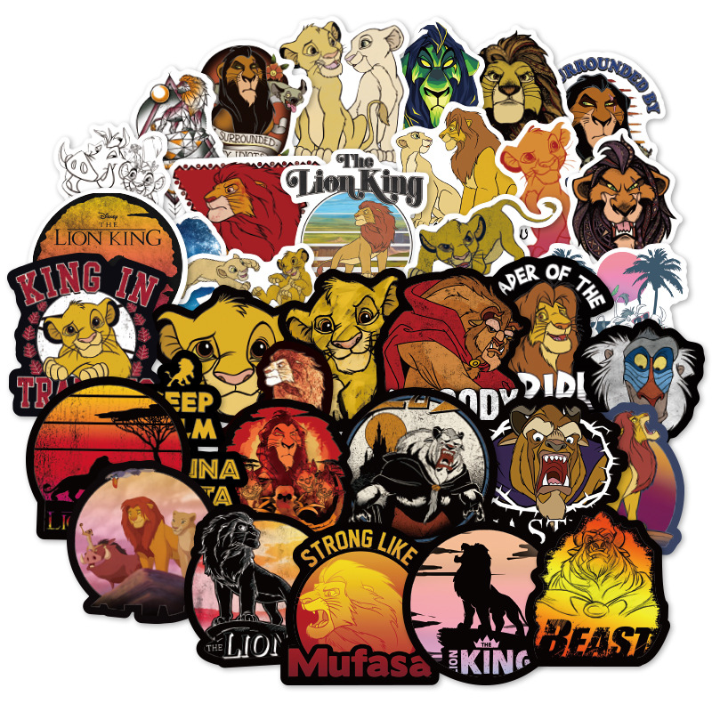 50pcs/set The Lion King PVC Waterproof Fun Sticker Toy Luggage Stickers Motorcycle And Luggage Notebook Cartoon Sticker F4