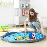80cm 150cm Colorful Kids Game Play Mat Waterproof Round Crawling Blanket Storage Bag Toy Child Play