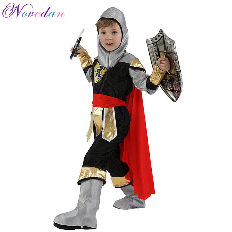 Halloween Cosplay Kids Masquerade Party Royal Warrior Knight Costumes Boys Soldier Children Set 2019 New