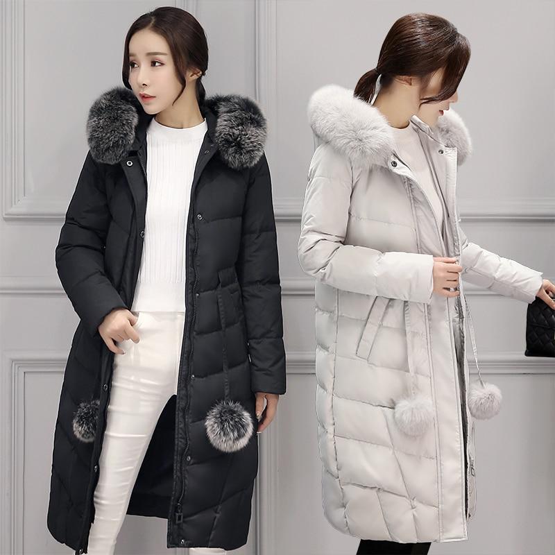 Season 2016 New Large Size Fur Collar Jacket Girls Long Slim Lady ...